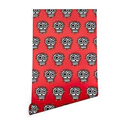 Deny Designs Andi Bird Sugar Skull Fun Red Peel and Stick Wallpaper