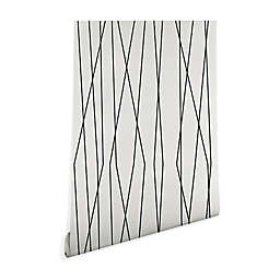 Deny Designs Linear Cross Stone 2-Foot x 10-Foot Peel and Stick Wallpaper in Stone
