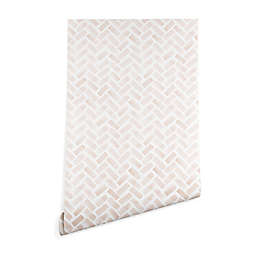 Deny Designs Herringbone Peel and Stick Wallpaper in Blush