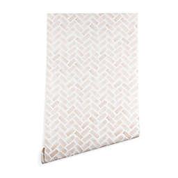 Deny Designs Herringbone 2-Foot x 8-Foot Peel and Stick Wallpaper in Pink