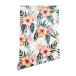 Deny Designs Schatzi Brown Honolua Tropical 2-Foot x 10-Foot Peel & Stick Wallpaper in Pink