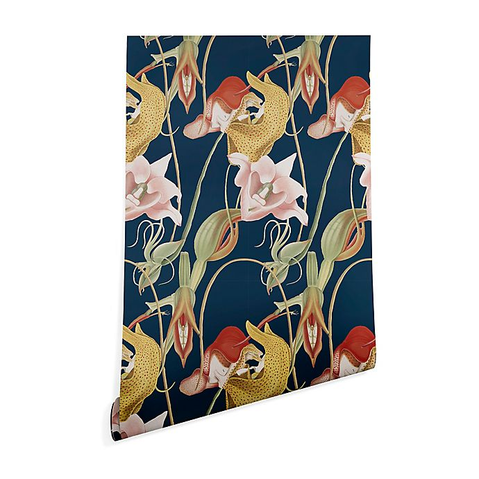 Alternate image 1 for Deny Designs Cayena Blanca Orchid Dance 2-Foot x 10-Foot Wallpaper in Blue