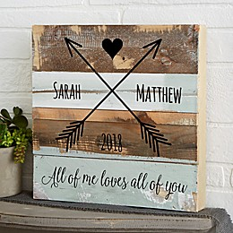 Romantic Arrows Reclaimed Wood Wall Sign