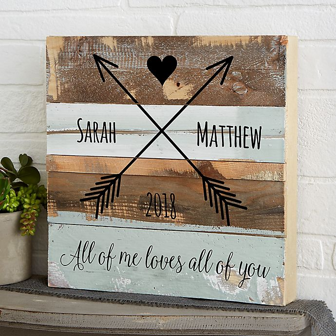 Alternate image 1 for Romantic Arrows Reclaimed Wood Wall Sign