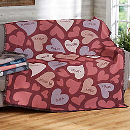 Loving Hearts Woven Throw Blanket