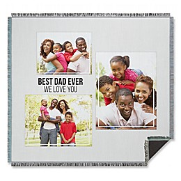 Three Photo Collage for Him Woven Throw Blanket