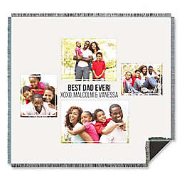 Four Photo Collage for Him Woven Throw Blanket