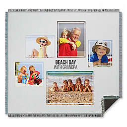Five Photo Collage Woven Throw Blanket