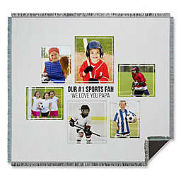 Six Photo Collage for Him Woven Throw Blanket