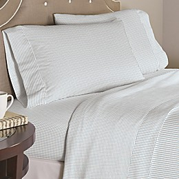 Pointehaven Checkerboard 200-Thread-Count Cotton Percale Twin XL Sheet Set in White/Blue