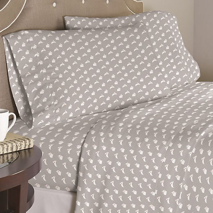 Alternate image 1 for Pointhaven Bunnies 200-Thread-Count Twin XL Sheet Set in Grey