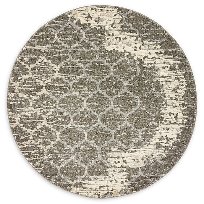 Alternate image 1 for Baltimore Trellis 6' Round Area Rug in Light Grey