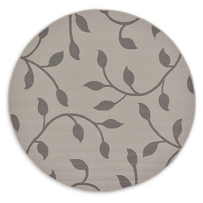 Alternate image 1 for Unique Loom Botanical 6' Round Power-Loomed Indoor/Outdoor Area Rug in Grey