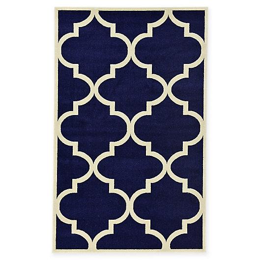 Alternate image 1 for Unique Loom Trellis Rug in Navy Blue