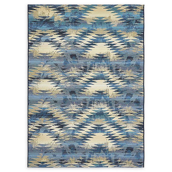 Alternate image 1 for Unique Loom Aztec Eden Outdoor 5' X 8' Powerloomed Area Rug in Blue