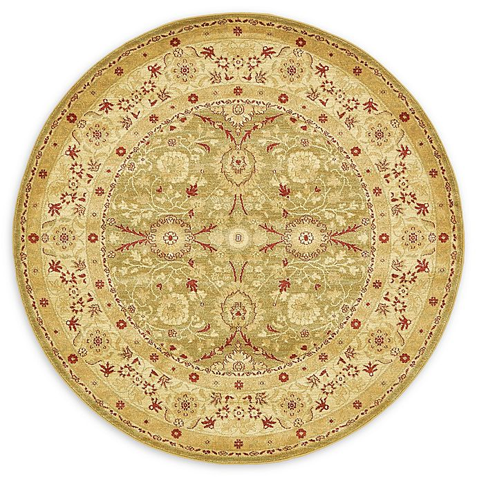 Alternate image 1 for Unique Loom Heritage Monroe 6' Round Powerloomed Area Rug in Light Green