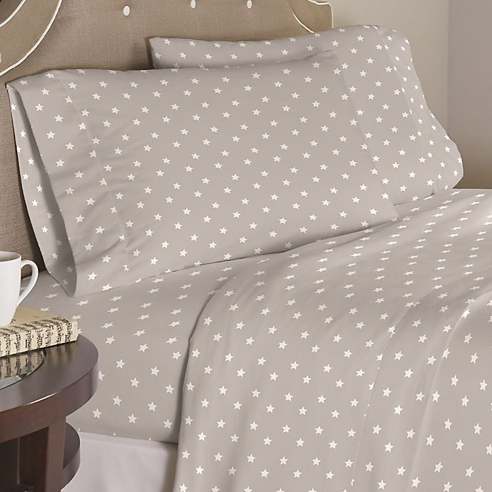 Alternate image 1 for Pointehaven Grey Stars 200-Thread-Count Cotton Sheet Set in Grey