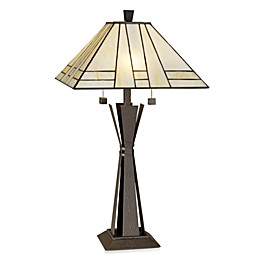 Kathy Ireland Home Citycraft Table Lamp with Art Glass Shade