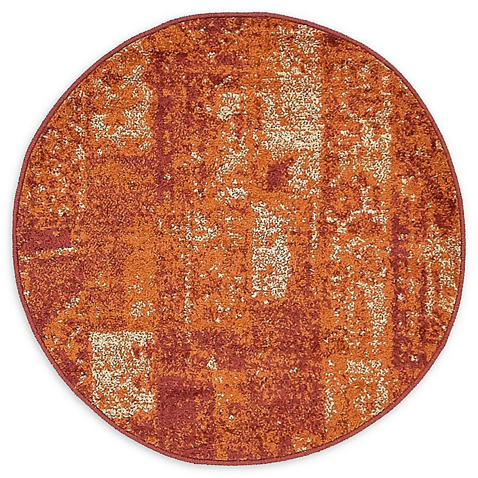 Alternate image 1 for Unique Loom Harvest Plymouth 3' Round Powerloomed Area Rug in Terracotta