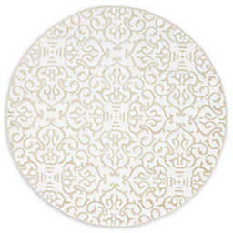 Unique Loom Himalaya Johnson 5' Round Powerloomed Area Rug in Snow White