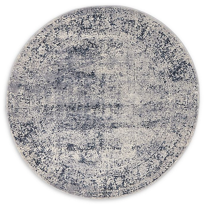 Alternate image 1 for Unique Loom Jefferson Villa 4' Round Powerloomed Area Rug in Dark Blue