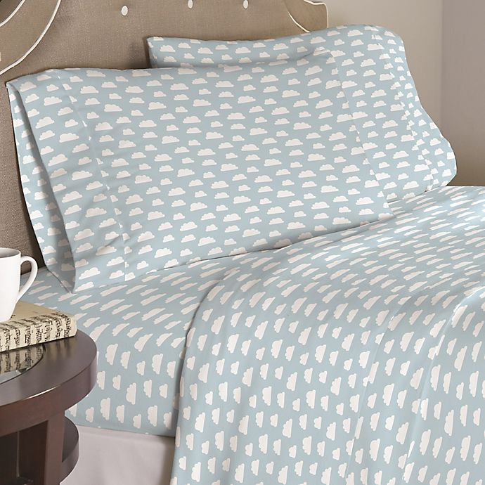 Alternate image 1 for Pointehaven Clouds 200-Thread-Count Twin XL Sheet Set in Blue