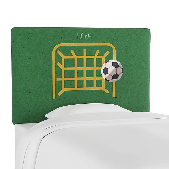 Alternate image 1 for Skyline Furniture Scottsburg Soccer Goal Upholstered Headboard in Green