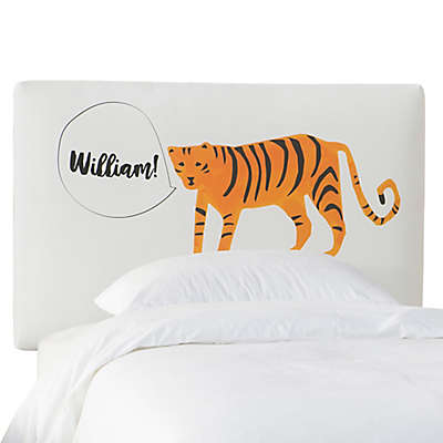 Skyline Furniture Scottsburg Tiger Upholstered Headboard in White