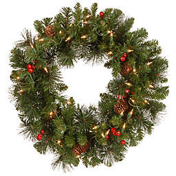 National Tree Company Crestwood Spruce Pre-Lit Wreath with Clear Lights