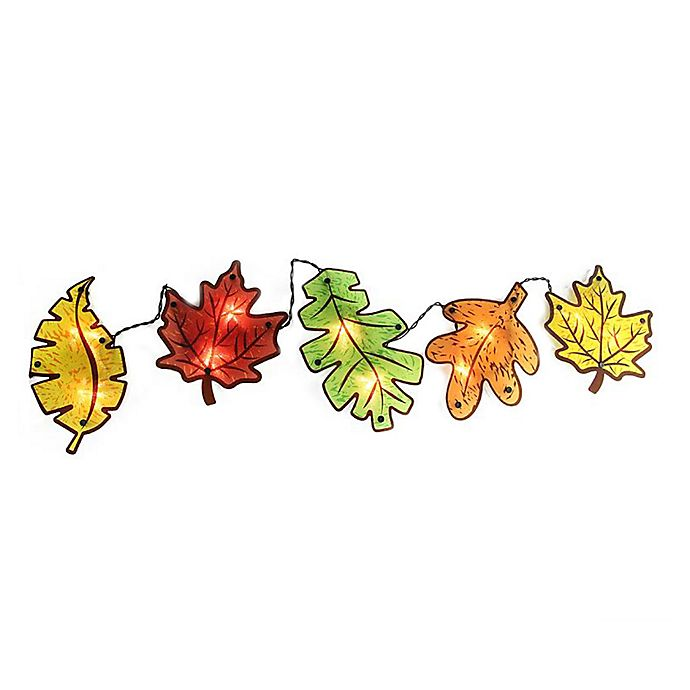 Alternate image 1 for Northlight® Fall Leaves Garland Window String Lights in Yellow