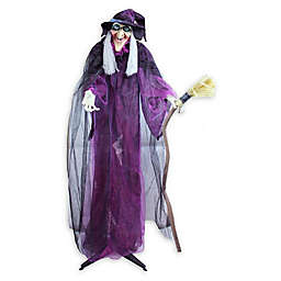 Northlight®  Witch & Broomstick Animated Halloween Decoration in Purple