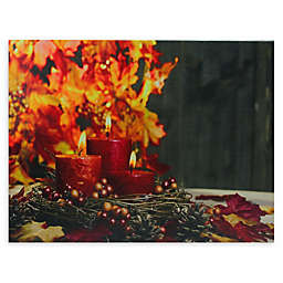Northlight Autumn LED Tiered Candles Canvas Wall Art in Orange