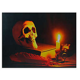 Skull and Candle Lighted Wall Art