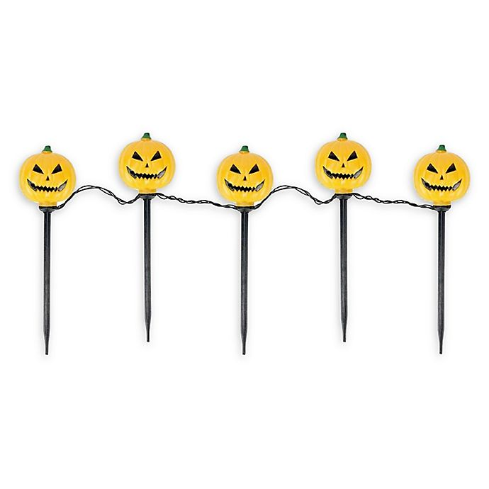 Alternate image 1 for Jack-O-Lantern 6-Foot Lighted Halloween Pathway Markers in Black (Set of 5)