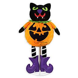 Northlight 35-Inch LED Cat Jack-O-Lantern Halloween Decoration in Orange