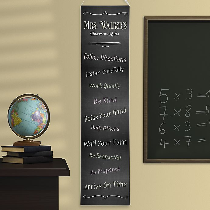 Alternate image 1 for Personalized Chalkboard Teacher Classroom Rules Banner