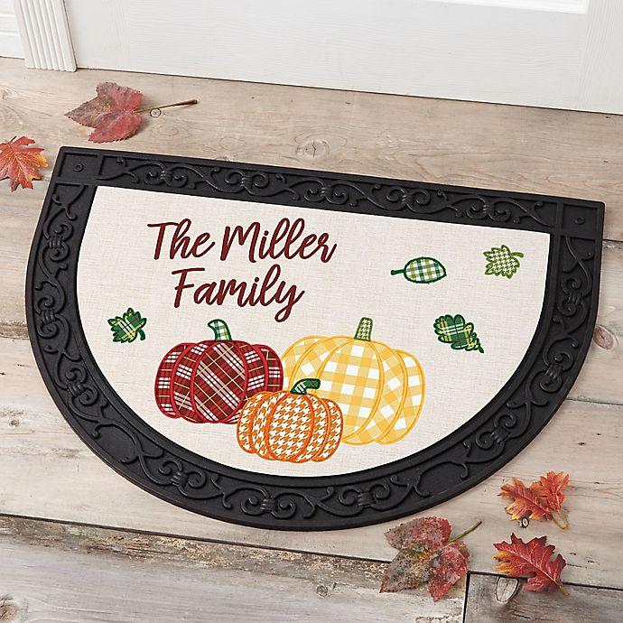 Alternate image 1 for Fall Plaid Pumpkin Half Round Doormat