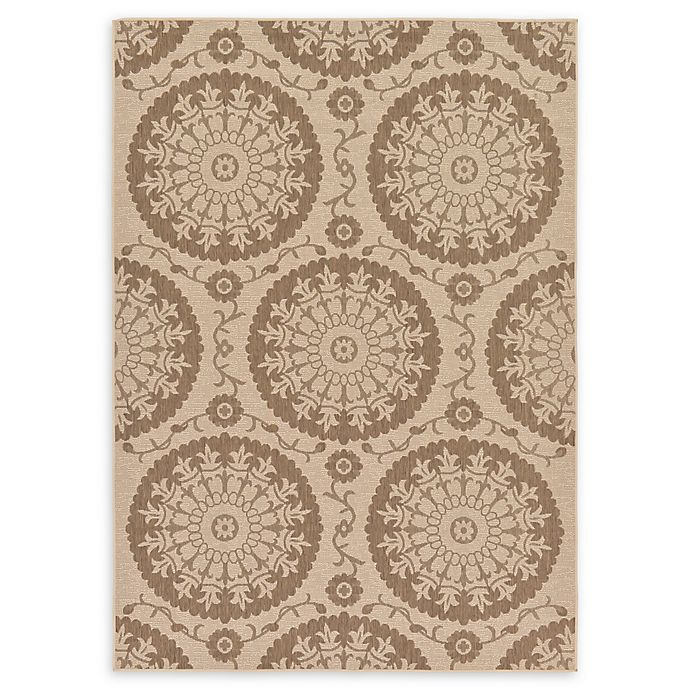 Alternate image 1 for Unique Loom Medallion Outdoor 7' X 10' Powerloomed Area Rug in Beige