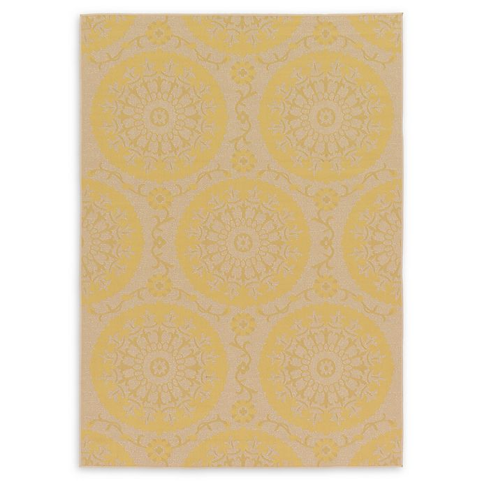 Alternate image 1 for Unique Loom Medallion Outdoor 7' X 10' Powerloomed Area Rug in Yellow