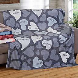 Loving Hearts 60-Inch x 80-Inch Fleece Blanket