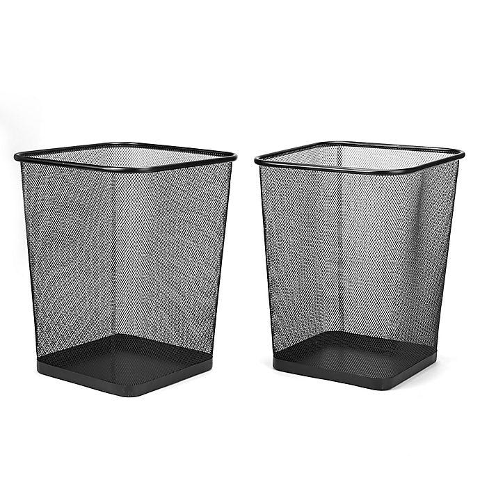 Alternate image 1 for Mind Reader Square Mesh Wastebaskets in Black (Set of 2)