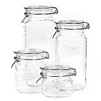 4-Piece Clear Mason Jar Set with Clamp-On Lids