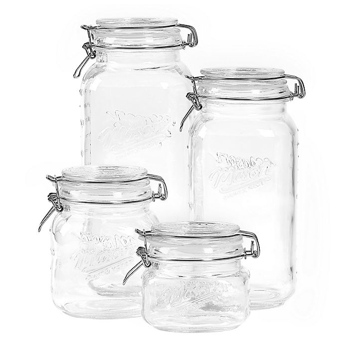 Alternate image 1 for 4-Piece Clear Mason Jar Set with Clamp-On Lids