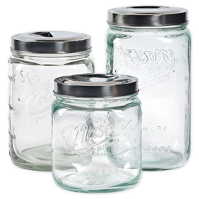 Alternate image 1 for Mason Craft & More® 3-Piece Pop-Up Canister Set in Clear