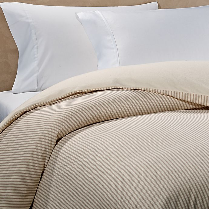 Alternate image 1 for The Seasons Collection® HomeGrown™ Ticking Stripe Flannel Duvet Cover in Taupe