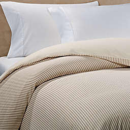 The Seasons Collection® HomeGrown™ Ticking Stripe Flannel Duvet Cover in Taupe