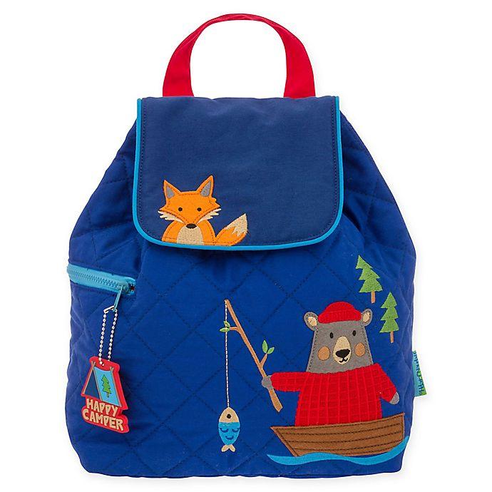 Alternate image 1 for Stephen Joseph® Bear Fishing Quilted Backpack in Blue