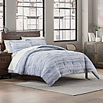 Garment Washed Striped Print Reversible Full/Queen Comforter Set in Chambray