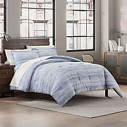 Garment Washed Striped Print 3-Piece Reversible King Comforter Set in Chambray
