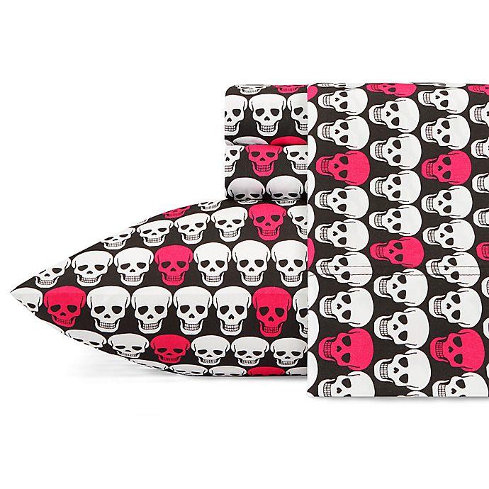 Alternate image 1 for Betsey Johnson® Skulls Sheet Set